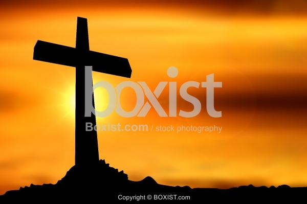 Large Cross At Sunset
