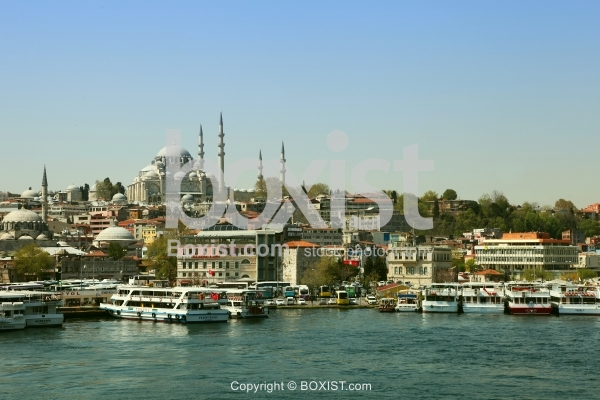 View of Suleymaniye and Eminonu District in Istanbul City