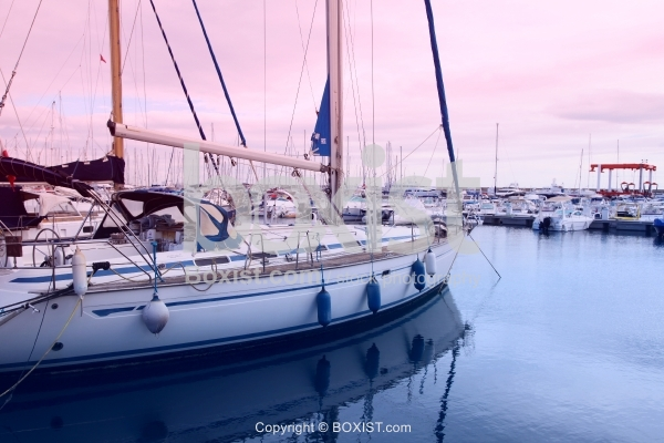 Yachts In Harbour At Sunset