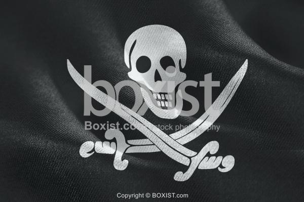Waving Fabric Flag Of Pirates