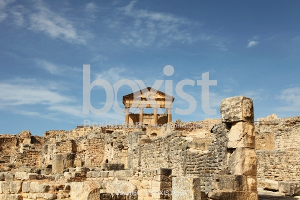 View Over The Roman Ruins At Dougga In Tunisia
