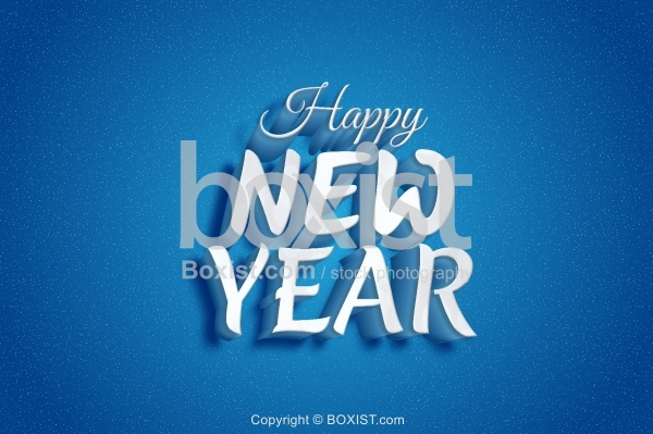 3D Blue Happy New Year