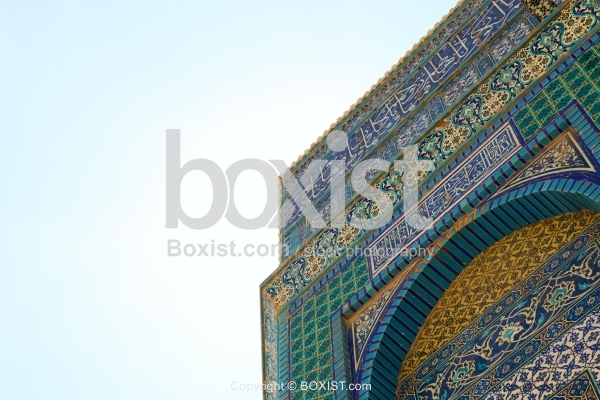 Colorful Iznik Tiles Facade Corner at Dome of the Rock