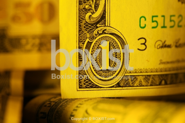 Closeup of the Number One on the Dollar Bill