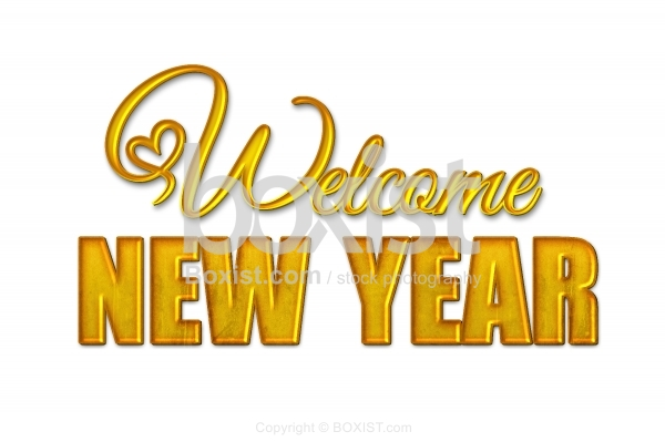 Welcome New Year Isolated on White Background