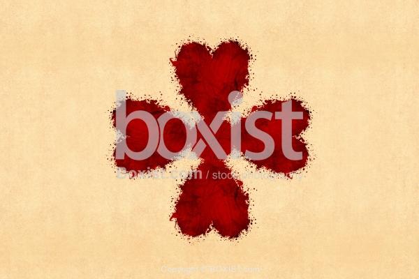 Love Heart Cross With Ink Splatters