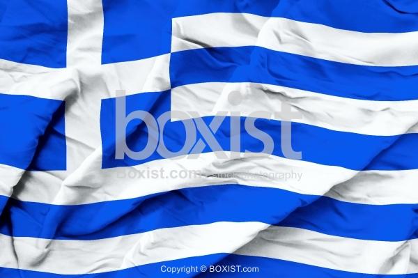 Greece Flag On Wavy Silk Fabric