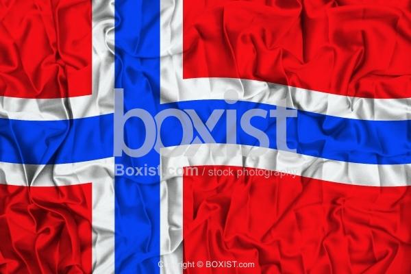 Norway Flag On Wavy Silk Fabric