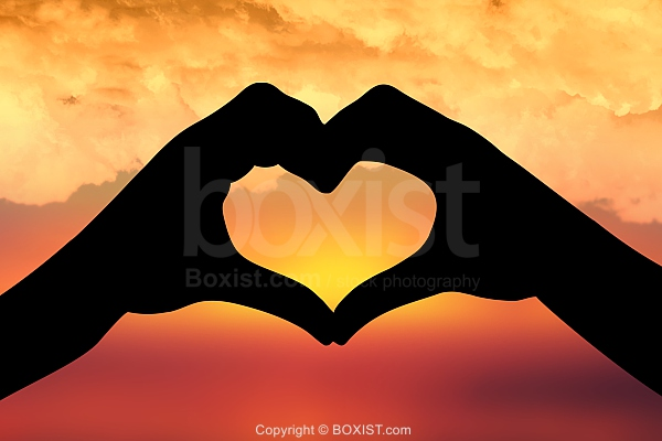 Heart In The Sky With Vivid Clouds Background