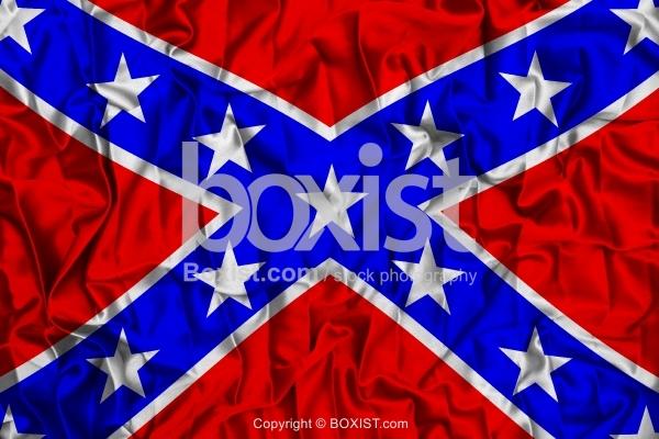 US Confederate Flag On Wavy Silk Fabric