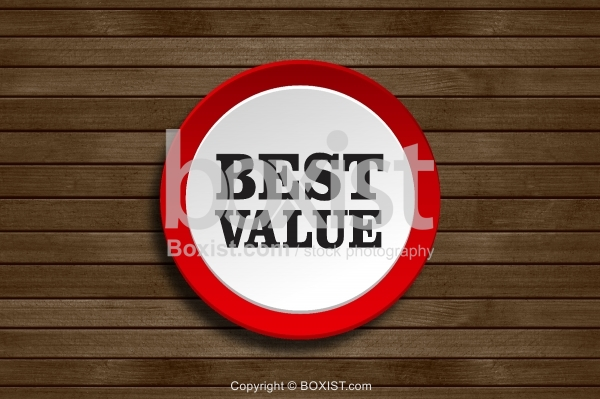 Best Value Banner On Wood Background