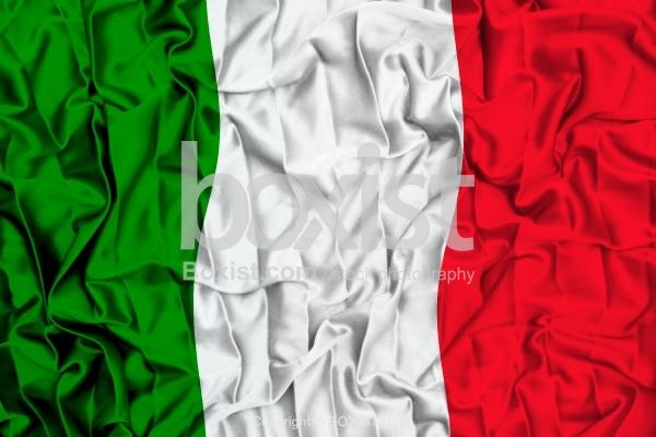 Italy Flag On Wavy Silk Fabric