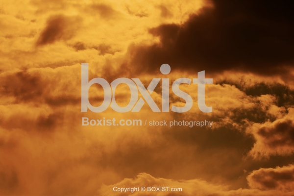Dark Sky with Orange Clouds Natural Background