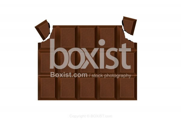 Chocolate Bar With Pieces Broken Off