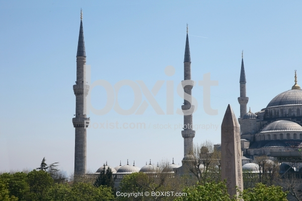 Egyptian Obelisk and Minarets of the Blue Mosque in Istanbul