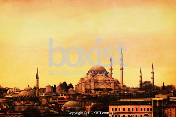 Suleymaniye Mosque Vintage Painting