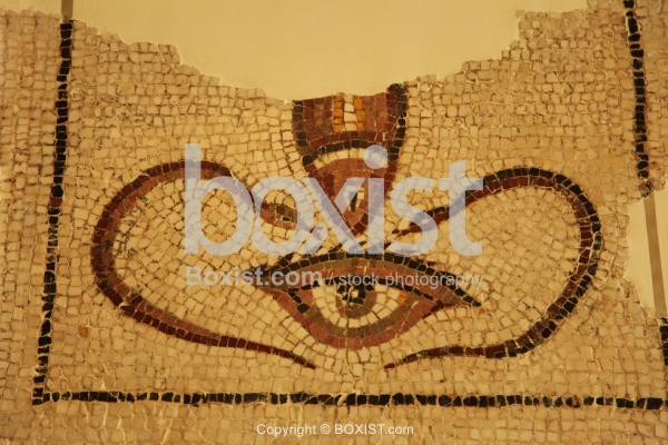 Open Eye and Two Snakes with Fish Protecting Symbols Mosaic
