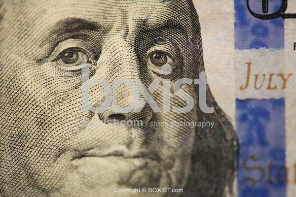 Benjamin Franklin Closeup Portrait On US Hundred Dollar