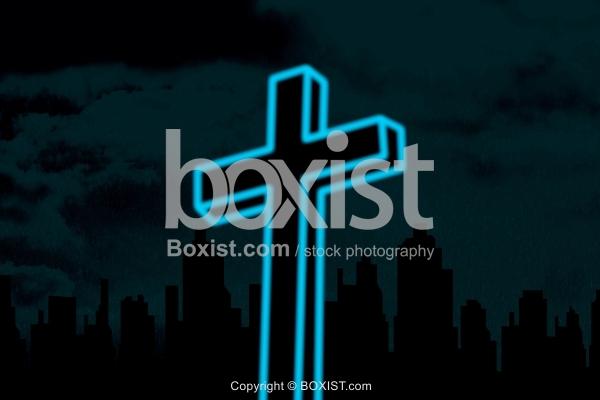Glowing Cross Against Black Sky