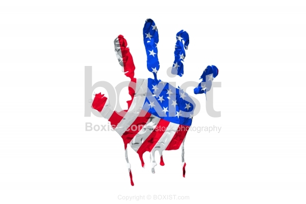 Hand Print Of American Flag