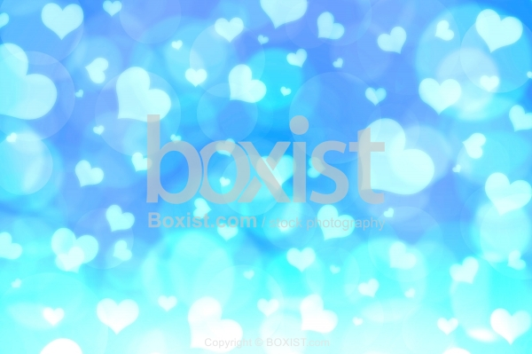 Love Hearts Blue Bokeh Background
