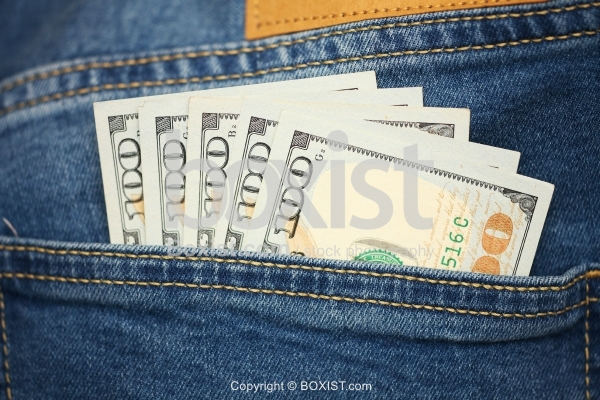Jeans Pocket With Arranged Hundred Dollars Money