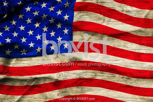 American Flag On Grunge Wood Background