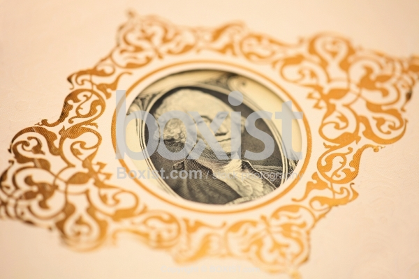 George Washington Portrait Inside Ornamental Card