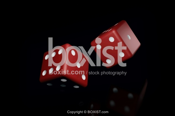 Two Red Dices On Black Background