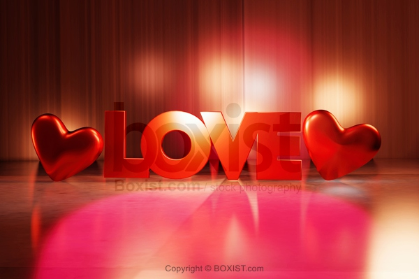 Love Word With Two Hearts In 3D Design