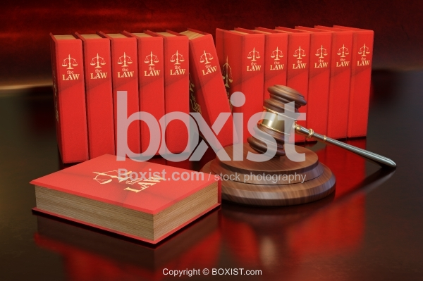 Books Of Law With Judge Gavel 3D Design