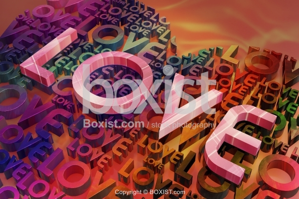 Closeup Of 3D Love Letters