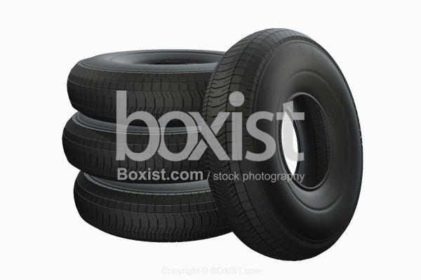 Set Of Four Tires On White Background