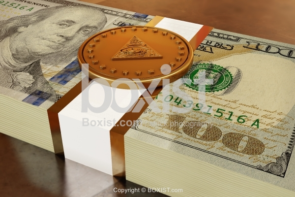 Golden Coin On Top Of Stack Of One Hundred Dollars
