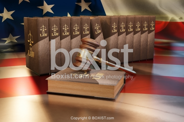 Gavel And Law Books 3D Design