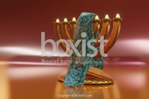 Piece Of Cloth On Jewish Menorah