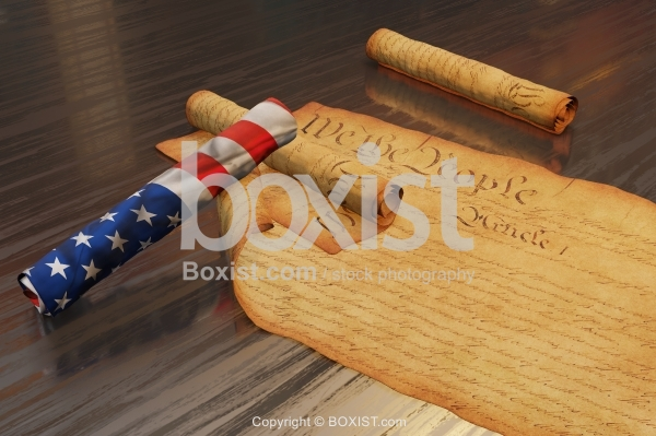 American Constitution Scrolls And Flag