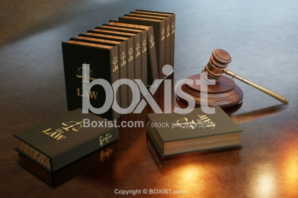 Law Books With Judge Gavel Design