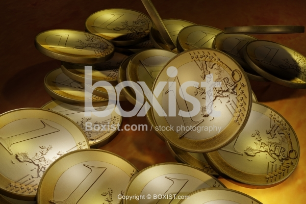 Shiny Stack Of Euro Coins 3D Design