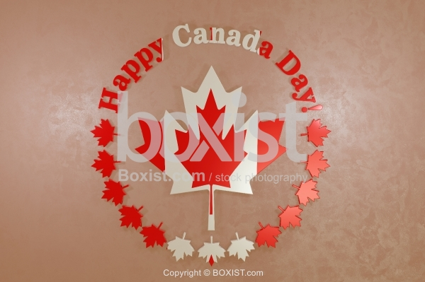 Happy Canada Day 3D Design On Wall