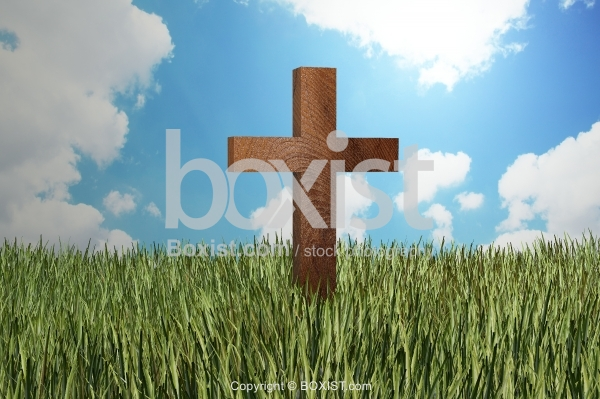 Wooden Cross In Grass Field