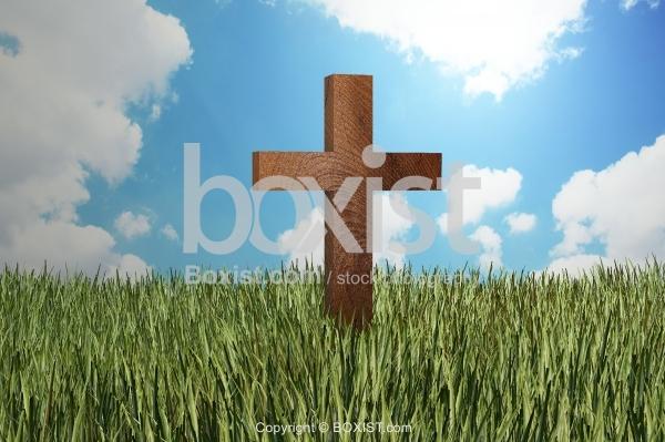 Wooden Cross In Grass Field