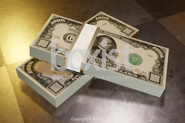 Two Stack Of Thousands Dollars Concept 3D Design