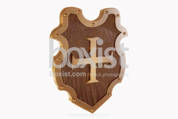 3D Design Of Middle Ages Shield With Cross.