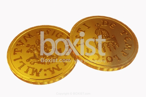Seal Of Templars Golden Coin 3D Design