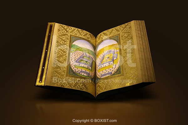 Ancient Book Of Prayers With Mecca And Medina Painting