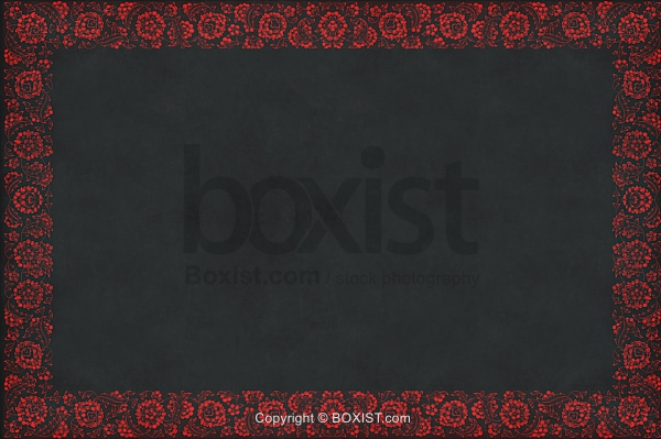 Black Paper with Red Floral Border