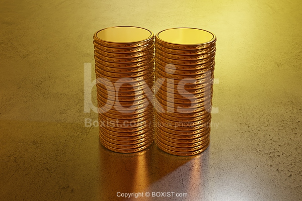 3D Design Of Golden Coins Stack