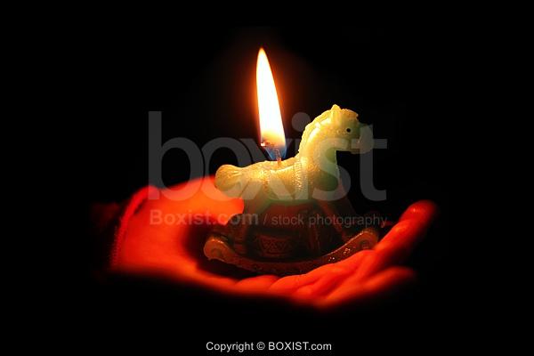 Hand Holding Horse Shape Candle