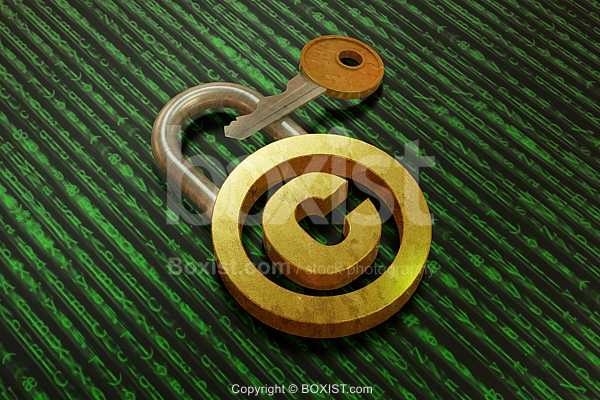 Copyright Lock With Key 3D Design